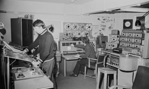 Composers and sound engineers Malcolm Clarke and Brian Hodgson at work in the BBC Radiophonic Workshop at the BBC's Maida Vale studios in 1969