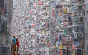 The Parthenon of Books in the German city of Kassel is the work of Argentinian artist Marta Minujín, who constructed this replica of the Athens monument using 100,000 once-banned books. A symbol of democracy and free speech, the installation, built on the site of Nazi book burnings of the 1930s, is part of the renowned Documenta 14 art festival, which runs until 17 September. Photograph: Boris Roessler/Getty