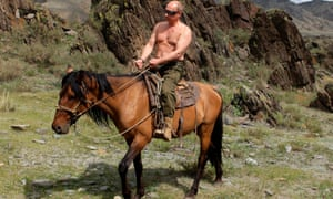 Vladimir Putin on horseback.