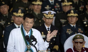 Philippine president Rodrigo Duterte gives a speech to the armed forces