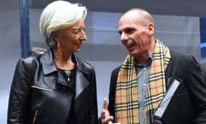 Yanis Varoufakis speaking with the IMF's director, Christine Lagarde