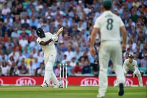 Jofra Archer hits the ball to the boundary for four.