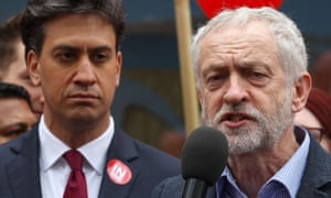 Miliband listens as the Labour leader, Jeremy Corybn, speaks about the merits of Britain remaining in the EU.