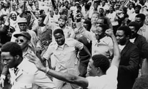 Robert Mugabe emerges from exile at Harare Fields, 1980.