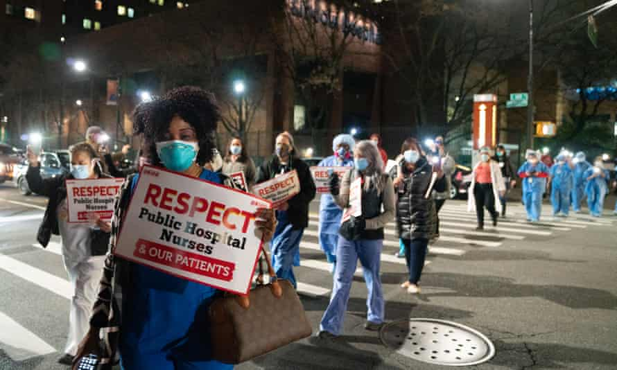Nurses and supporters participate in a vigil at Lincoln hospital.
