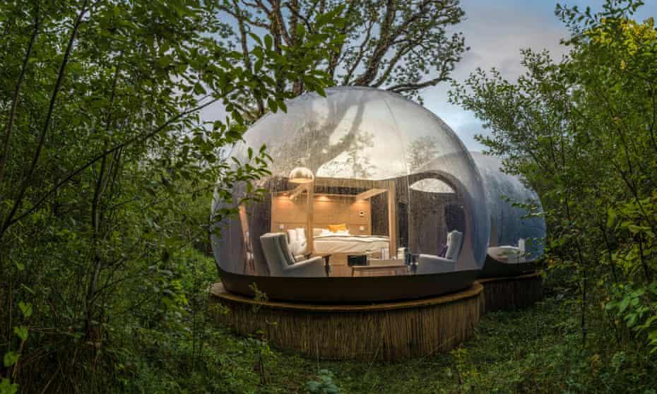Geodesic dome at Finn Lough, Enniskillen, Northern Ireland, UK.