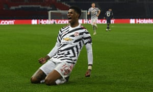 Paris Saint-Germain v Manchester United: Group H - UEFA Champions League<br>PARIS, FRANCE - OCTOBER 20: Marcus Rashford of Manchester United celebrates after scoring his sides second goal during the UEFA Champions League Group H stage match between Paris Saint-Germain and Manchester United at Parc des Princes on October 20, 2020 in Paris, France. Sporting stadiums around Europe remain under strict restrictions due to the Coronavirus Pandemic as Government social distancing laws prohibit fans inside venues resulting in games being played behind closed doors. (Photo by Chris Ricco - UEFA/UEFA via Getty Images)
