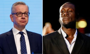 "Gove told Talk Radio: ""I think we again know that Stormzy, when he took to the stage at Glastonbury wearing a stab vest, he made clear what his political views were then."""