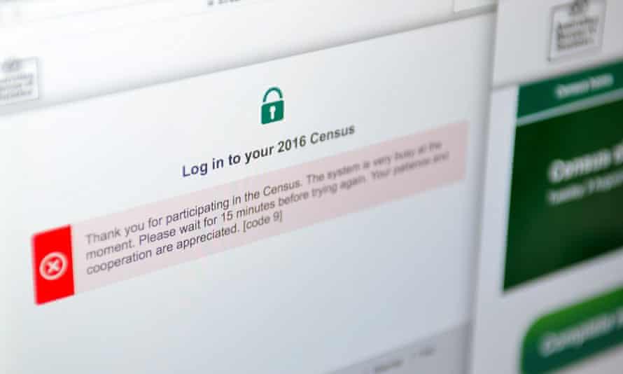 An error message is seen on the Australian Bureau of Statistics census website on Wednesday