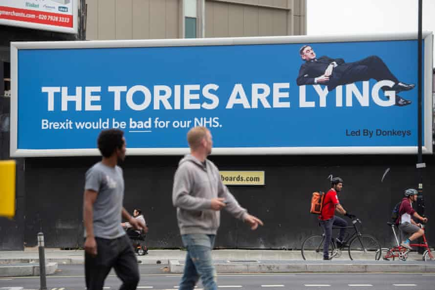 A Jacob Rees Mogg billboard in London, September.