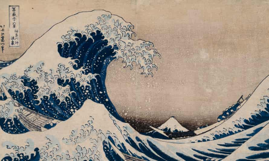 Hokusai's best-known work, The Great Wave. It shows a huge, foam-capped wave about to crash down on row boats, with Mount Fuji in the distance.