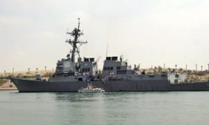 In a 2011 photo, the destroyer USS Mason sails in the Suez canal in Ismailia, Egypt.