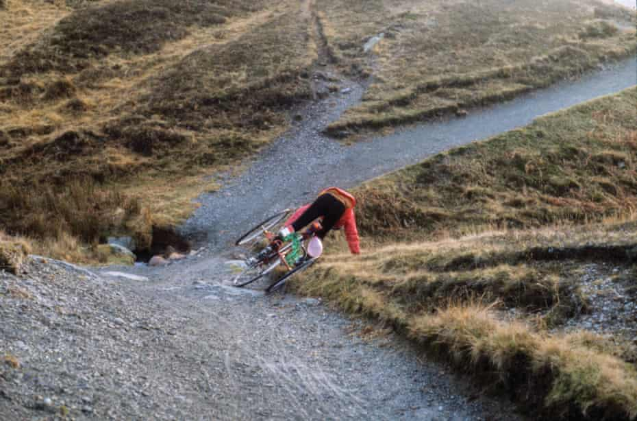A cyclist takes a tumble in the Lake District in December 1986