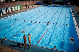 Swimmers at Charlton Lido in south-east London doing lengths