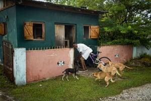 Vernon Vanriel in the roadside shack where he has been living.