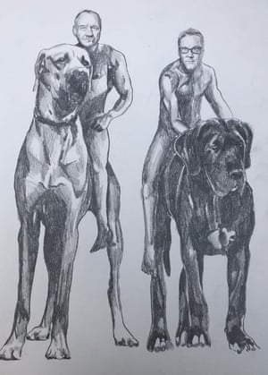 Bob and me on our way to a new Big Night Out on our hounds 'Scoundrel number 1' and 'Filthy Rascal'. 2019 by Jim Moir AKA Vic Reeves.