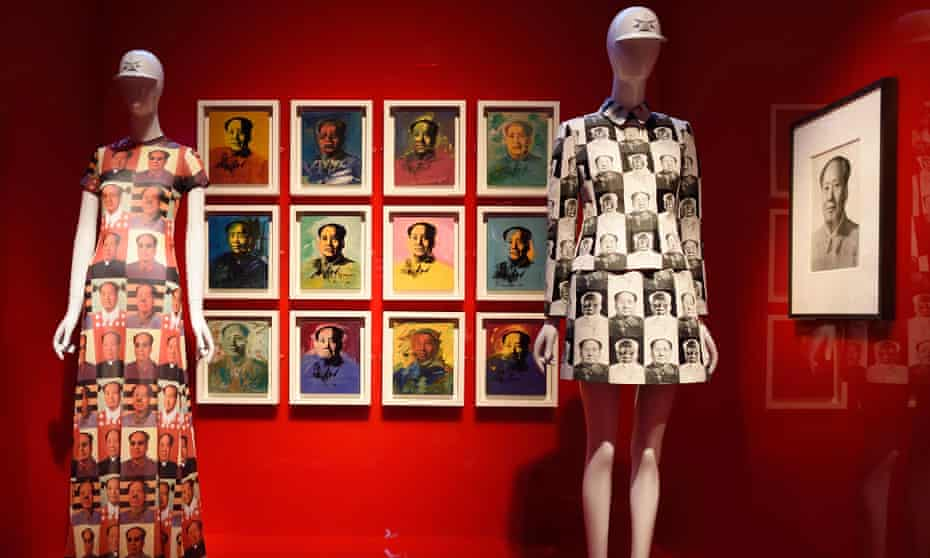 Art work by Andy Warhol and a dress by Vivienne Tam are displayed as part of China Through the Looking Glass at the Metropolitan Museum of Art in New York.