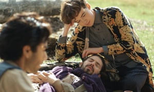 Children of the Quorn: Myles Sembi, Alex Lawther and Will Rastall in Carnage.