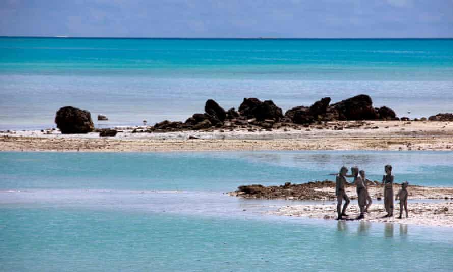 Young boys on South Tarawa in the Pacific island nation of Kiribati