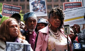 Gwen Carr, mother of Eric Garner, during a news conference outside of police headquarters in Manhattan to protest the disciplinary hearing for officer Daniel Pantaleo on 21 May.