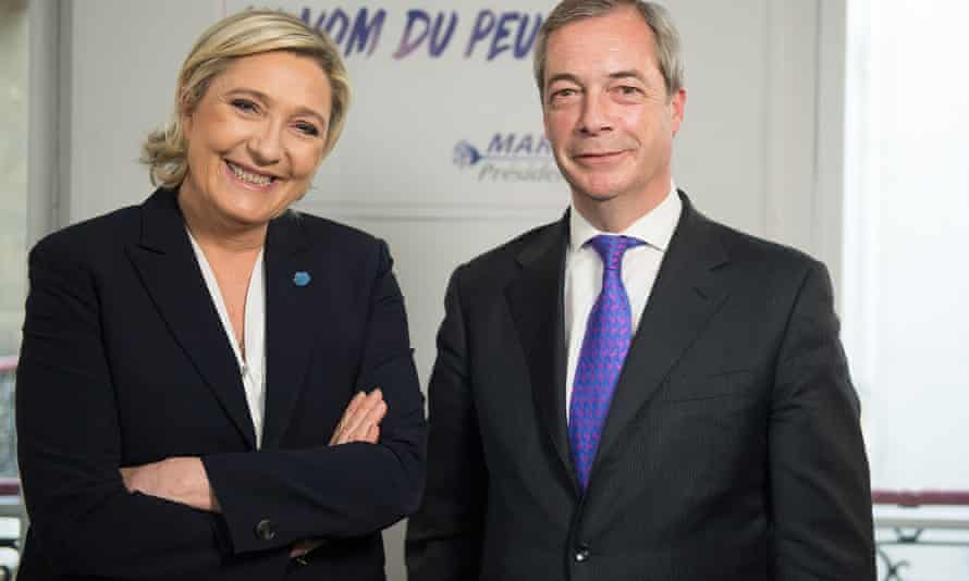 Marine Le Pen with Nigel Farage on his radio show in March