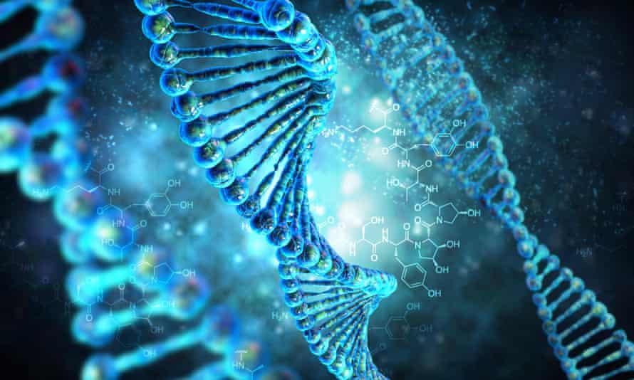 3D render of human DNA string