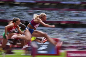 Kendell Williams of the United States competes in a heat in the women's heptathlon 100m hurdles.