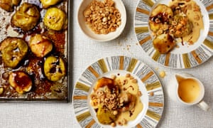 Photograph of Thomasina Miers' baked apples with salted fennel custard and hazelnut crunch