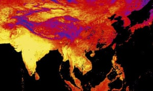 This image released by NASA's Earth Observatory Team from data collected by the Moderate Resolution Imaging Spectroradiometer (MODIS), an instrument on NASA's Terra and Aqua satellites, shows the land surface temperature as observed by MODIS in Asia between April 15 to April 23, 2016. Yellow shows the warmest temperatures.