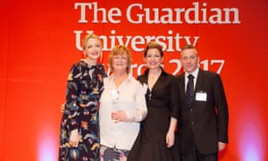 Host Lauren Laverne presents the Digital innovation award to University of Central Lancashire at the Guardian University Awards 2017 held at LSO St Luke's in Old Street, London. 29 March 2017