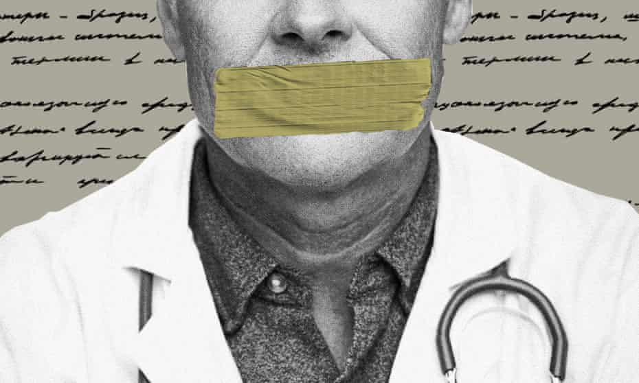 An illustration of a doctor with tape over his mouth. Doctors have often been whistleblowers throughout history