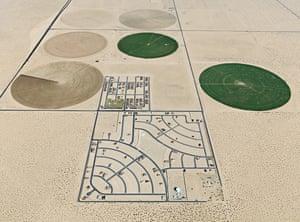 Pivot Irrigation/Suburb, south of Yuma, Arizona, 2011