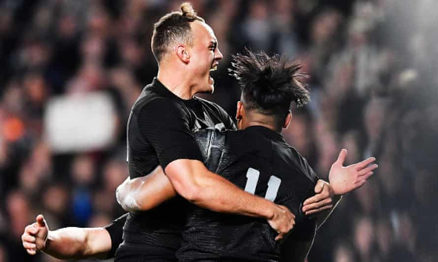 Julian Savea, right, celebrates after scoring his second try with Israel Dagg.