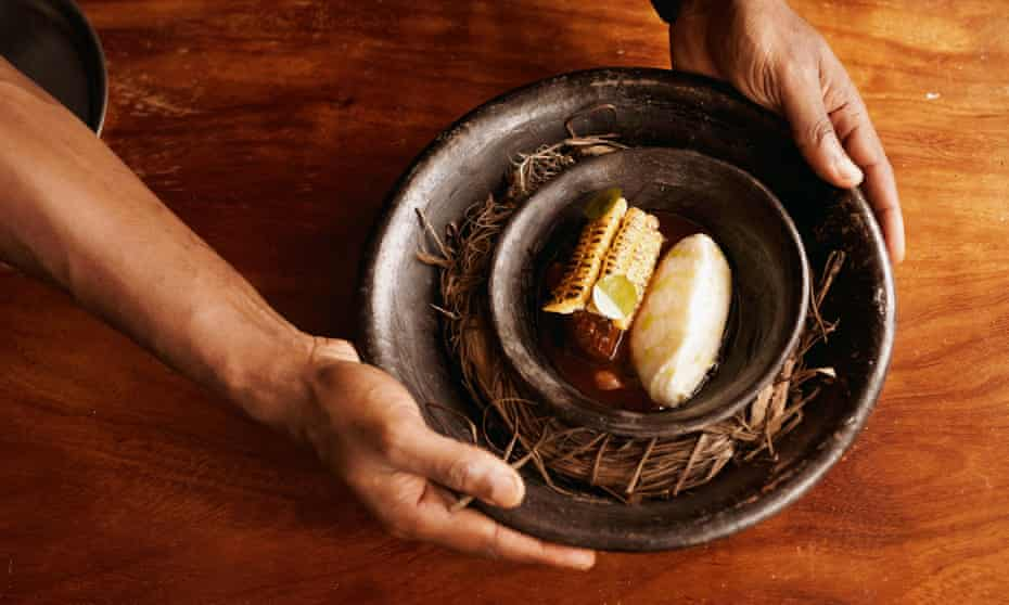 The six-course menu is served on clay plates made in Ogun, south-west Nigeria.
