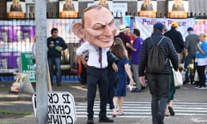 A protester dressed as former prime minister Tony Abbott during the Wentworth byelection last month.