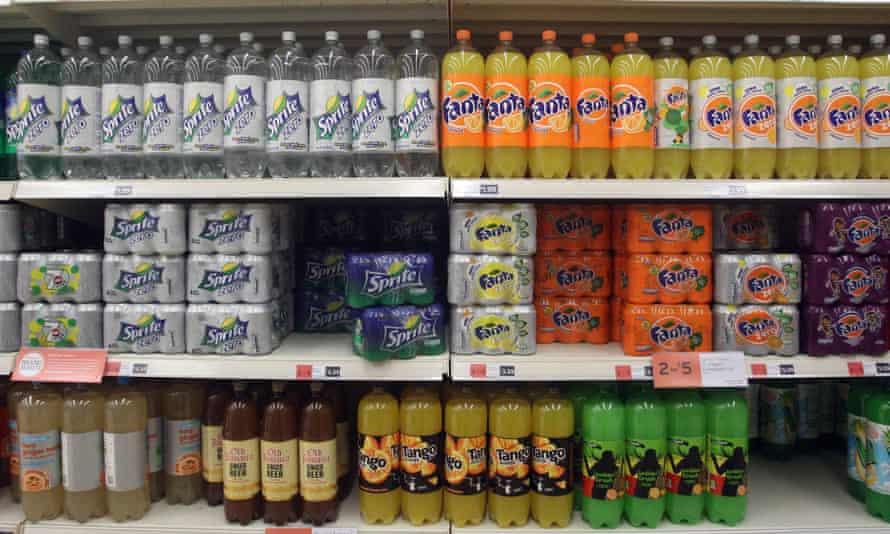 Soft drinks on  supermarket shelves