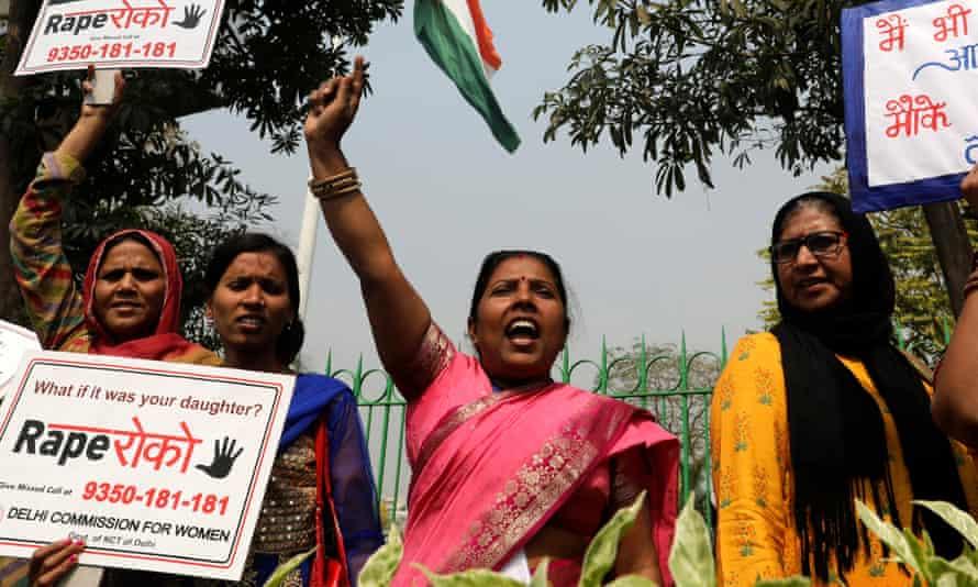 Women in New Delhi take part in a protest against rape on International Women's Day