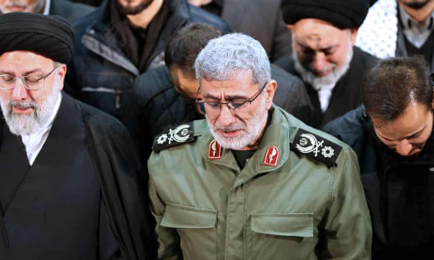 Esmail Ghaani at the funeral of Qassem Soleimani in Tehran in January.