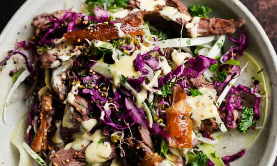A cabbage slaw using brisket leftovers.