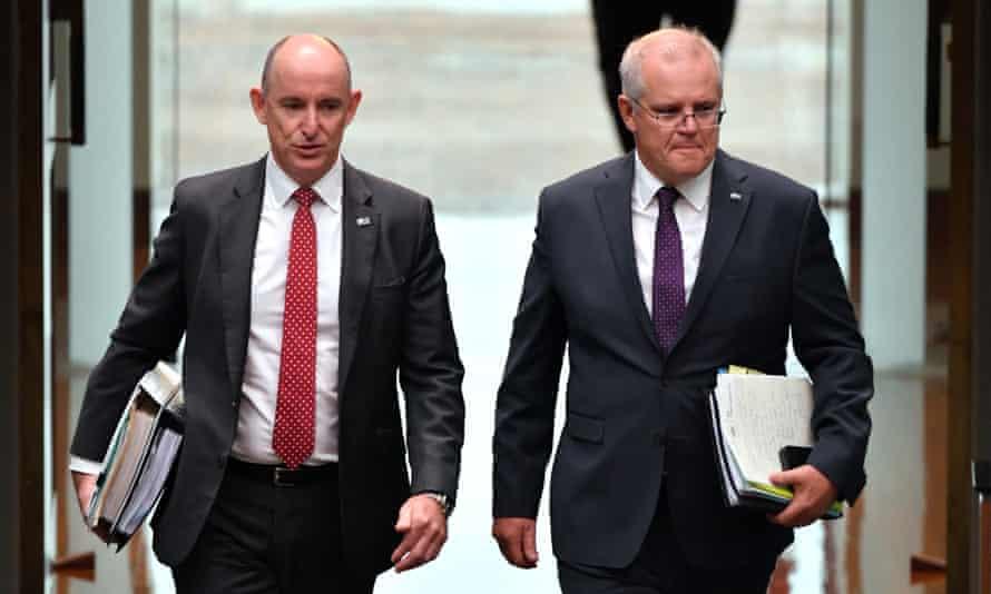 Minister Stuart Robert, left, and PM Scott Morrison