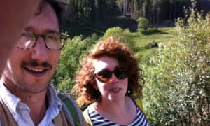 A selfie of Danny and Catherine in their garden