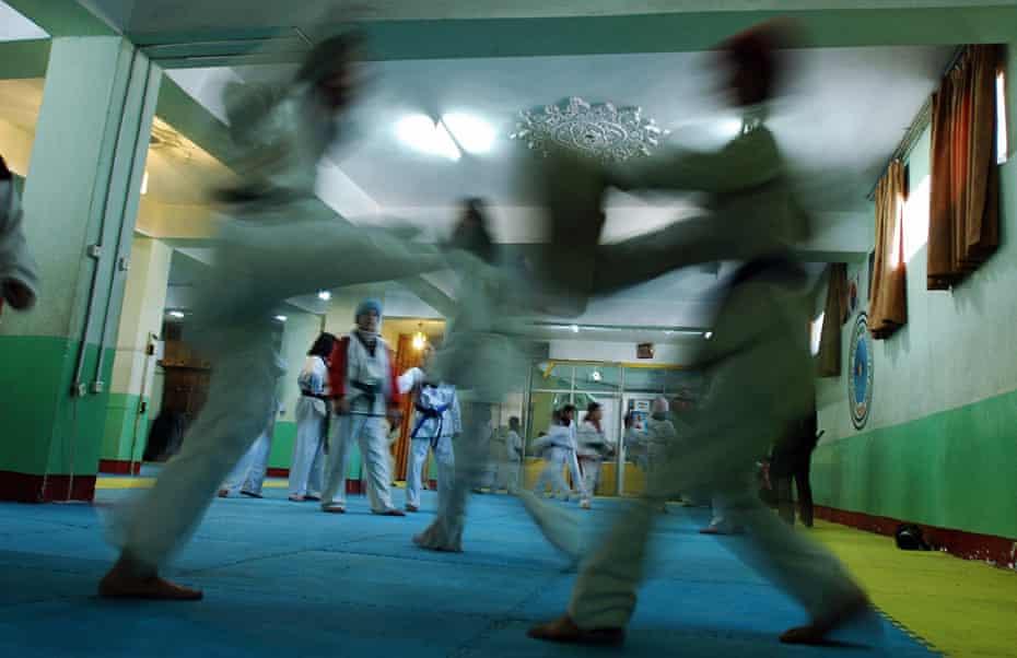 A taekwondo training session in Kabul, Afghanistan.