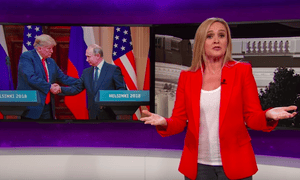 Samantha Bee: 'The most shocking thing on TV this week wasn't Trump and Putin standing on a platform and roasting the United States like a geopolitical Statler and Waldorf.'