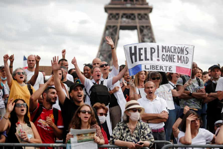 Protesters in Paris on Saturday railed against the president's health pass, required to access a host of public spaces.