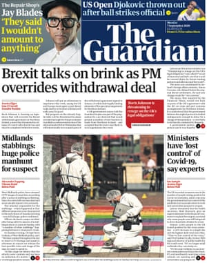 The Guardian front page, Monday 7 September