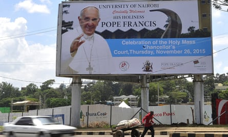 A billboard publicises the visit of Pope Francis in Nairobi