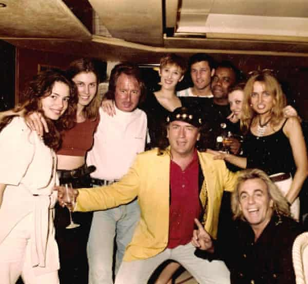 Bob Petrovic and friends – including Peter Stringfellow – in 1990s Marbella.