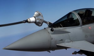 An RAF Typhoon aircraft refuel from a tanker aircraft during a mission over central Iraq