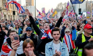 Pro-Brexit demonstration outside Houses of Parliament in London