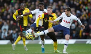 Tottenham Hotspur's Harry Winks and Serge Aurier in action with Watford's Gerard Deulofeu.